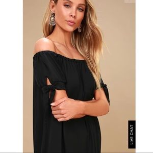 BLACK OFF THE SHOULDER DRESS- LACE EMBROIDERY TRIM
